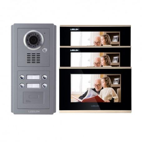 Videointerfoane Videointerfon IP LEELEN 3 familii cu cititor de card Leelen