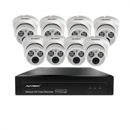 Sisteme de supraveghere Sistem supraveghere video IP 8 camere dome 30m 1080P Aevision AEVISION