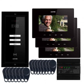 """ELECTRAVideointerfon Electra Smart+ 7"""" pentru 3 familii montaj incastrat - negru"""